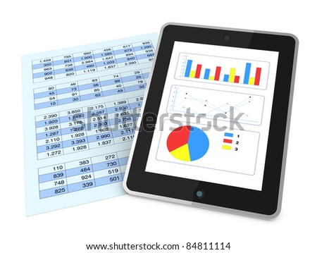 one paper with  a spreadsheet and a tablet that shows charts, concept of technology supporting the financial analysis (3d render)