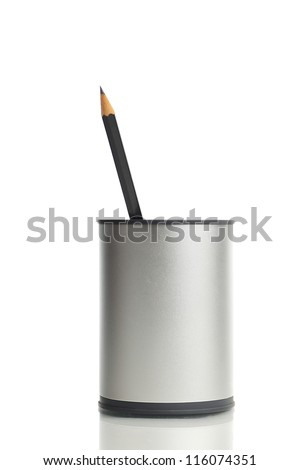 One Pencil in a box, isolated on white background