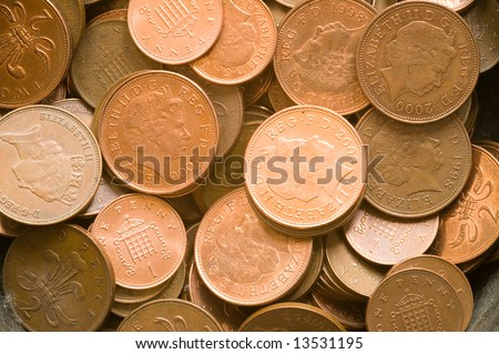 One penny and 2 pence coins suitable for background