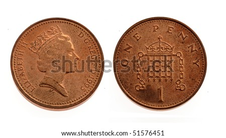 One penny coin over a white background