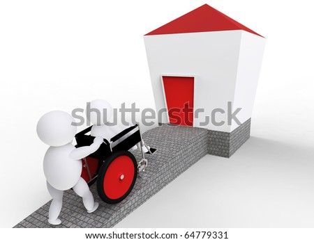 one person driving, another person sitting in wheelchair over a platform to a house