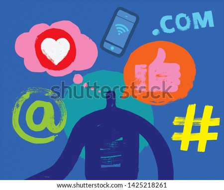 One Person, Head and Shoulders, Silhouette, Social Media Symbols, Thought Bubble, Speech Bubble, Grunge Texture, Facebook, Follower, Posting, Millennial, Internet Concepts, Communication, Marketing