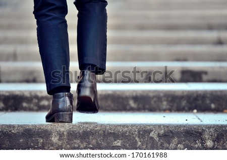 One person in stairs, winter / wet Сток-фото ©