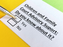 One person is answering question about children and family court advisory support.