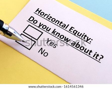 One person is answering question about horizontal equity. He knows about it.