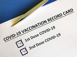 One person is answering question about vaccines. The person has received first and second dose of COVID-19 vaccines.