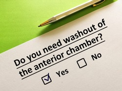 One person is answering question. He needs washout of anterior chamber.