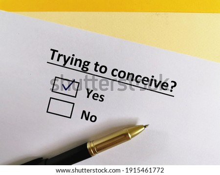One person is answering question. The person is trying to conceive. Stock photo ©