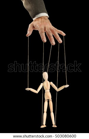 One person manages the other like a puppet. Concept of manipulation and dependence