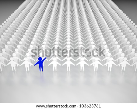 One person standing out from the crowd