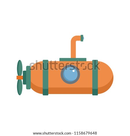 One person submarine icon. Flat illustration of one person submarine icon for web isolated on white