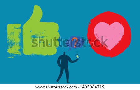 One Person with Smartphone, Like hand, Heart, Symbol, Thought bubble, Grunge texture, Online Profile, Media, Influencers, Technology, Marketing, Web, Shopping, Advertising, Tagging, Internet Savvy