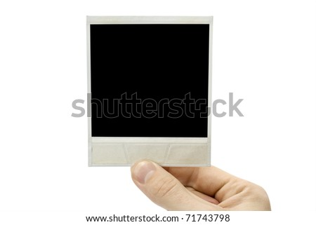 One photo in hand isolated on white background