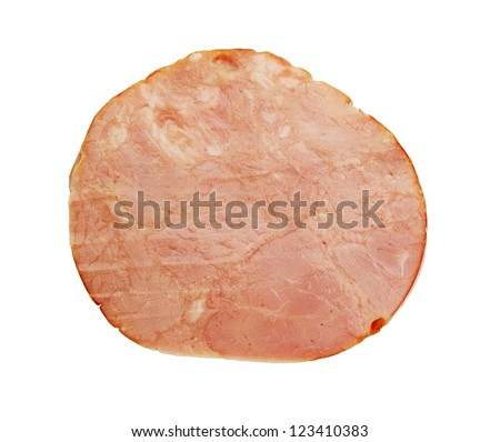 one piece of �¢??�¢??ham isolated on white background