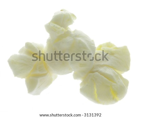 One piece of popcorn isolated on white.
