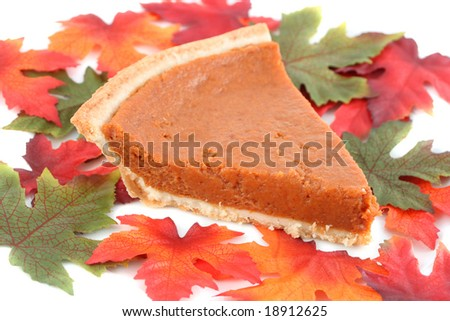 one piece of pumpkin pie on white plate surrounded by fall leaves