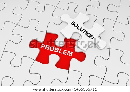 One Piece of White Jigsaw Puzzle over Plain of White Puzzle with Problem and Solution Words on a red background. 3d Rendering