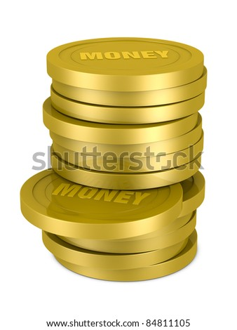 one pile of coins with the text: MONEY on them (3d render)