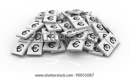 one pile of domino pieces with the euro currency symbol instead of numbers (3d render)