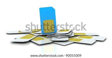 one pile of sim cards with the one in different color (3d render)