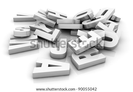 one pile of white letters (3d render)