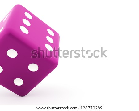 One pink dice on white background