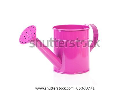 one pink watering can over white background - stock photo