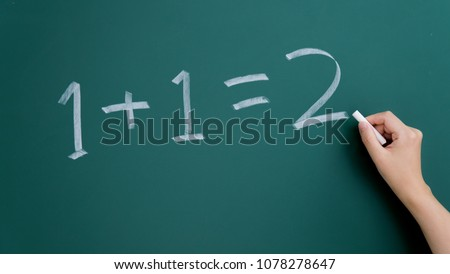 One plus one equals two written on chalkboard #1078278647