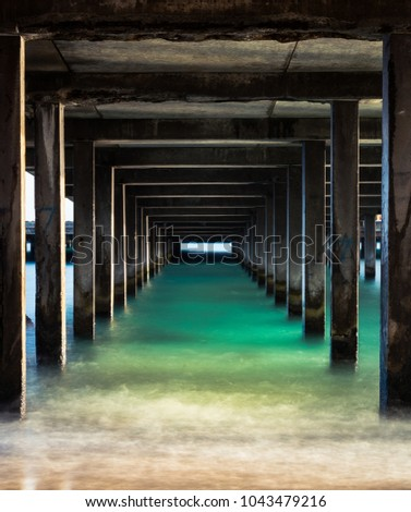 One Point Perspective under a Makai Research Pier in Waimanalo, Oahu, Hawaii #1043479216