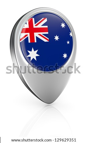 one pointer icon with the flag of Australia (3d render)