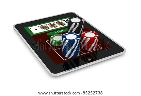 one portable computer with poker fiches (3d render)