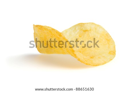 One potato chips isolated on a white background and shadow