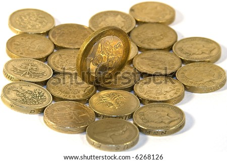 One pound coins over white and 2 pound coin on the top