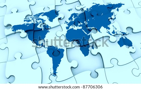 one puzzle made with the world map. the pieces are not all in the right position, concept of problem (3d render)
