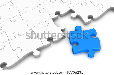 one puzzle with the last piece to complete (3d render) - stock photo