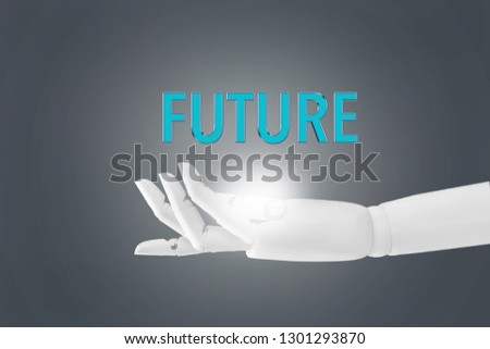 """One real robotic hand with palm extended showing glowing heart and the word """"Future"""""""