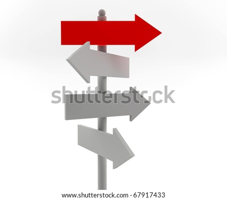 One red and three road arrow signs: business concept - stock photo