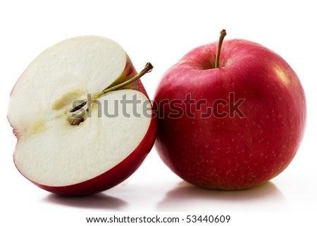 one red apple and a half isolated on white background