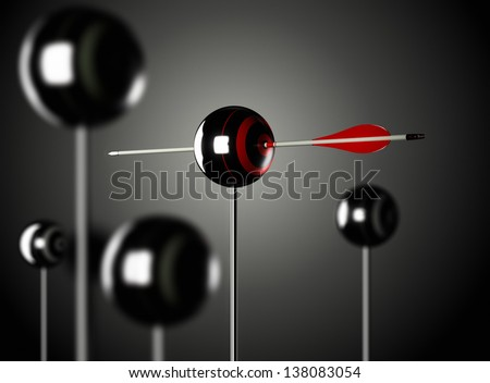 One red arrow piercing a ball shaped target mounted on a pole, black background, Blur effect 3D render illustration