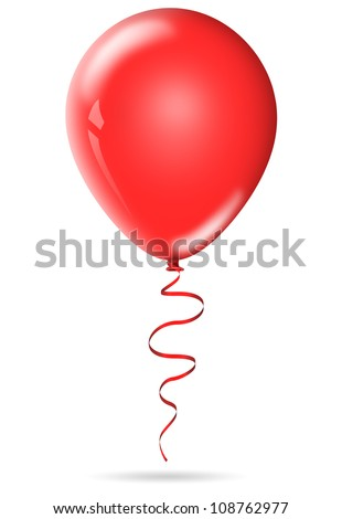 One red birthday balloon isolated on white background