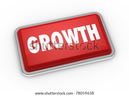 one red button with printed the word growth (3d render)