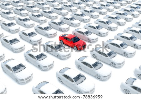 One red car with hundreds white