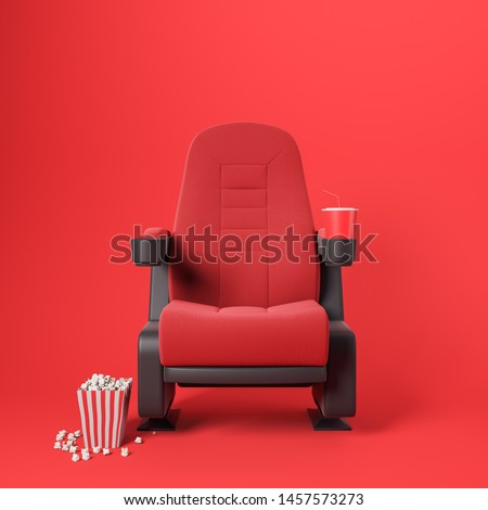 One red cinema chair with fizzy drink and box of popcorn over red background. Concept of entertainment. 3d rendering
