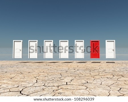 One red door among several floating doors in dry cracked landscape