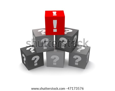 One red exclamation mark on the top of the pyramid of grey question marks that symbolizes solution, decision etc. Isolated on white background