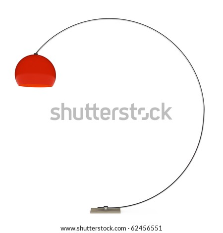 one red floor lamp on white background. 3D illustration