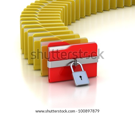 One  red folder with closed padlock and many opened folders.