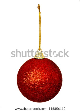 One red glittery Christmas bauble isolated over white background with gold color thread
