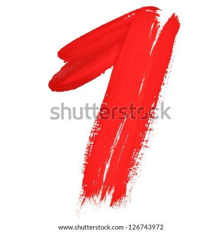 One - Red handwritten numerals over white background