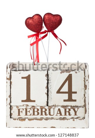 one red hearts with calendar for Valentine's Day
